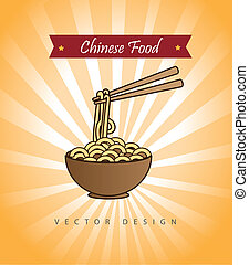chinese food over yellow background vector illustration