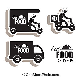 delivery food over white background vector illustration