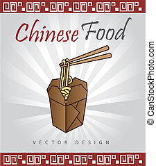 chinese food over gray background vector illustration
