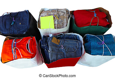 Donation Clothes - Donation clothes bags isolated on white...