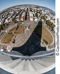 Planet Reykjavik - Fisheye view from Hallgrimskirkja...