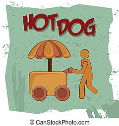 hot dog design over painted background vector illustration