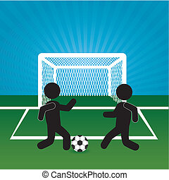 soccer design over landscape background vector illustration...