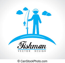 fishman design over beige background vector illustration