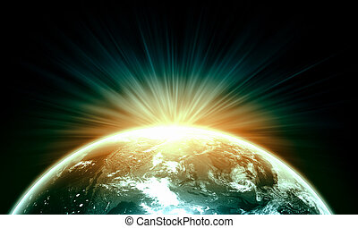 Planet Earth with appearing sunbeam light Elements of this...