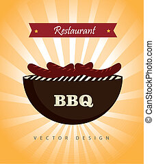 bbq restaurant over yellow background vector illustration