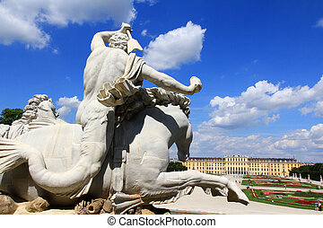 Neptune Fountain at Schoenbrunn - Statue of Neptune's...