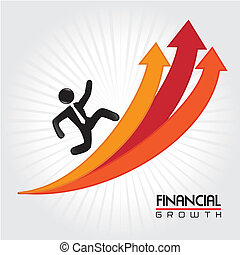 financial growth over lineal background vector illustration