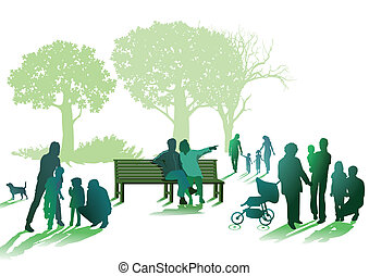 Families and seniors in the park