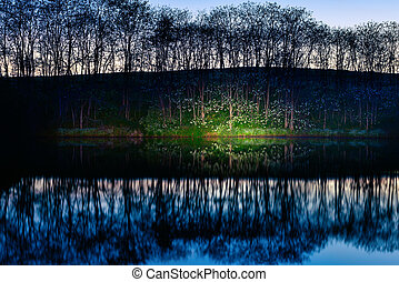 Lake shore at night with light painting