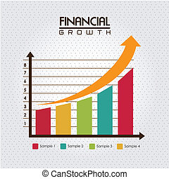 financial growth over dotted background vector illustration