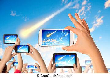 foto, toma, gente, meteorito