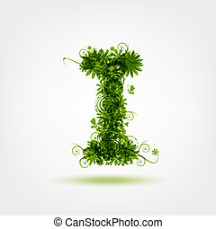 Green eco letter I for your design