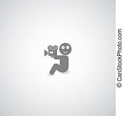 symbol - movie symbol on gray background