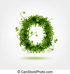 Green eco letter O for your design
