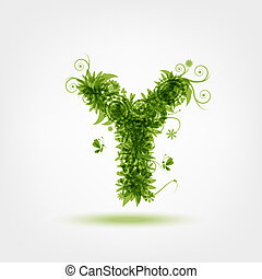 Green eco letter Y for your design