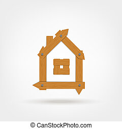 House made from wooden boards for your design