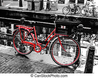 Red bicycle in Amsterdam (Netherlands)