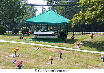 Funeral Preperation - Awning and preperation for a funeral