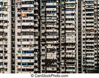 Block of flats in chinese city (Chongqing, China)