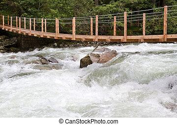 Wooden bridge over wild waters