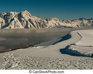 Inversion in winter Alps Austria