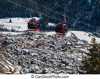 Cableway above Scuol in winter time (Switzerland)
