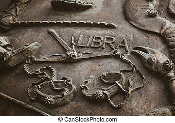 Libra - Bronze bas-relief , astrology concept,Libra is one...