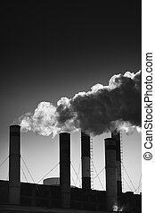 air pollution - industrial tubes pollute the environment ,...