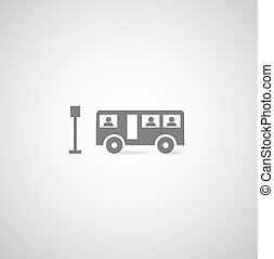symbol set - bus symbol on gray background