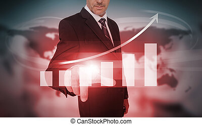 Businessman selecting red bar chart and arrow interface on...