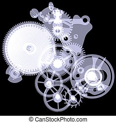 Clock mechanism X-ray render - Clock mechanism Isolated...
