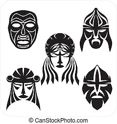 Masks - Vector set. - Tribal masks. Vector vinyl-ready...