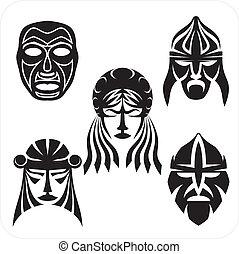 Masks - Vector set. - Tribal masks. Vector vinyl-ready...