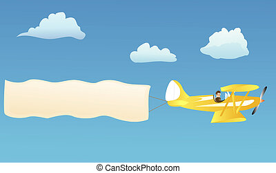 Biplane with blank banner - Biplane hauling blank...