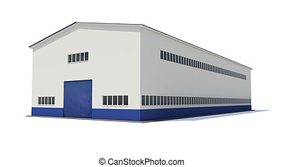 Industrial building Isolated render on a white background