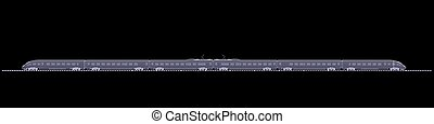 The new high-speed train X-ray render isolated on a black...