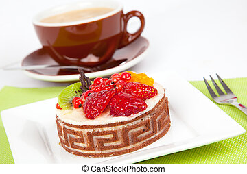 Low-calorie fruit cake with cup caffee, on white background