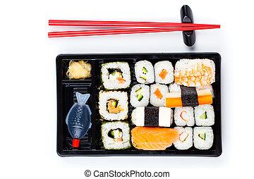 Sushi bento box, isolated on white background