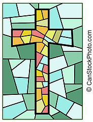 cross  made from stained glasses  in 2d software