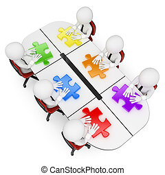 3D white people. Teamwork looking for the best solution - 3d...