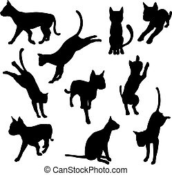 Pet cat silhouettes - A set of pet cat silhouettes including...