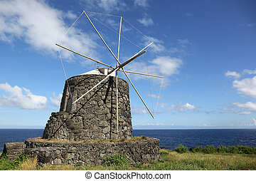 Windmill on the island of Corvo Azores Portugal - Old...