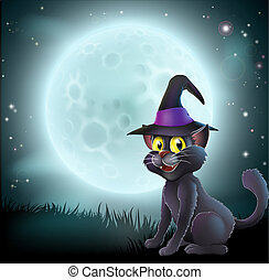 Halloween full moon witch cat - Illustration of a Halloween...