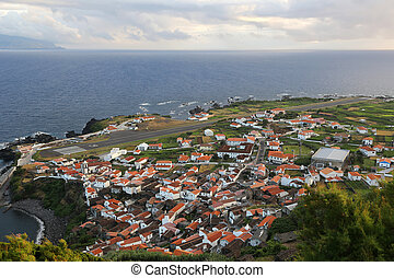 Panorama of the island of Corvo Azores Portugal