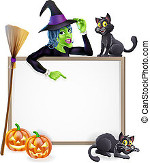 Witch Halloween Sign - Halloween sign or banner with orange...