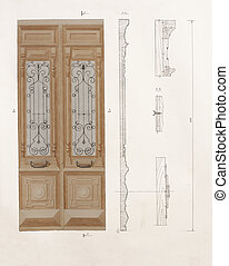 Architectural drawing of antique wooden door with a details...
