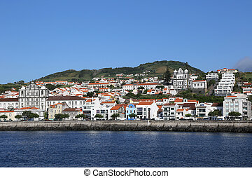 Panorama of Horta on Faial Azores Portugal - View of the...