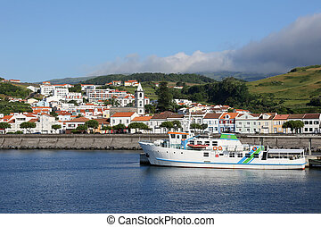 Port of Horta on Faial Azores Portugal - View of the port of...