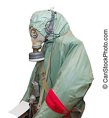 Protective military chemical warfare suit isolated on white...